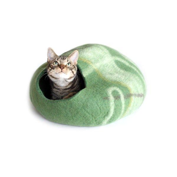 猫ハウス・猫ベッド*ウールフェルト[キャットポッド]グリーン