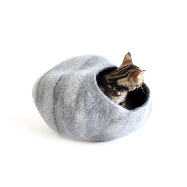 猫ハウス・猫ベッド*ウールフェルト[キャットポッド]グレー