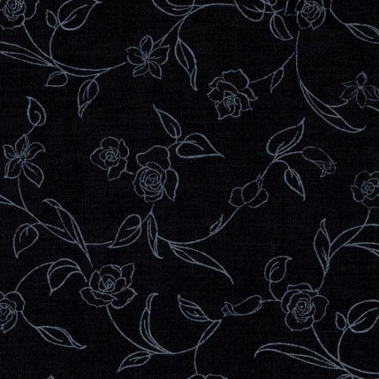 猫のフードマット(ランチョンマット)|花柄ブラック