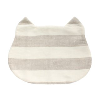 猫のフードマット(ランチョンマット)|横ストライプ/グレー×ホワイト