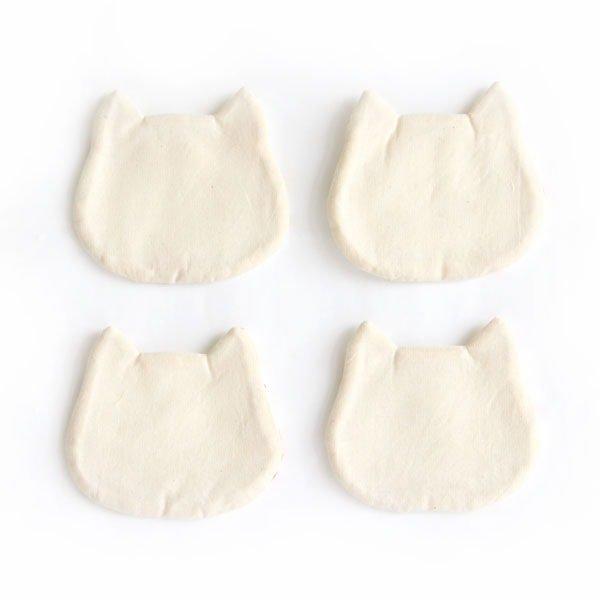 猫コースター[フローラル(ホワイト×オレンジ)]2ピース/4ピース