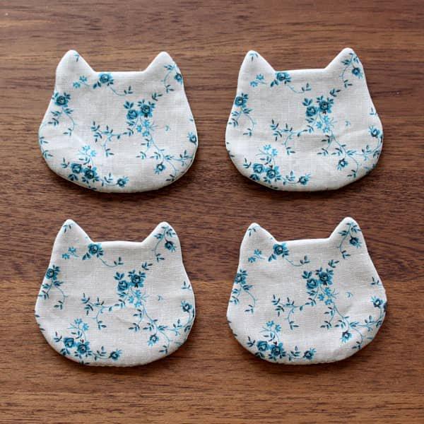 猫コースター[フローラル(フラックス×ブルー)]2ピース/4ピース