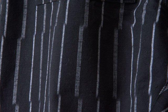 うなぎの寝床 久留米絣もんぺ ずらしストライプ【ブラック】 厚手生地  送料無料