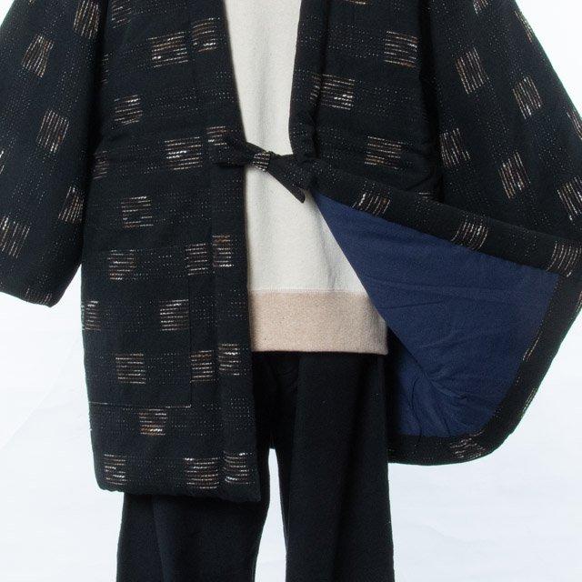 宮田織物 綿入れはんてん 飛びスラブ袢天(とびすらぶはんてん)黒/茶 男女共用