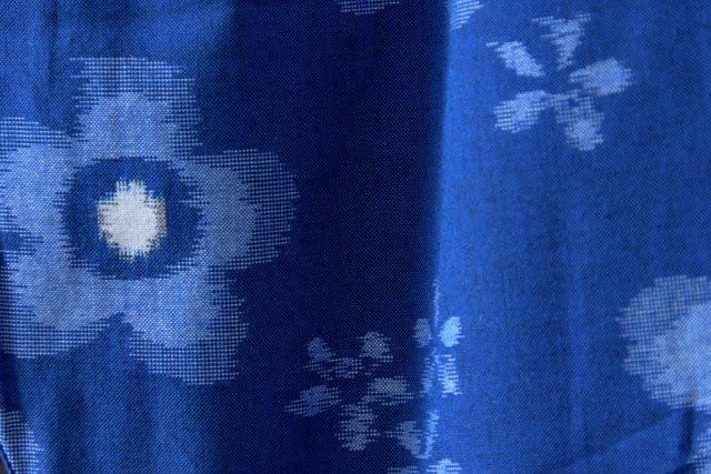 うなぎの寝床 久留米絣もんぺ 花柄 薄手【ブルー】 送料無料