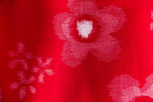 うなぎの寝床 久留米絣もんぺ 花柄 薄手【レッド】 送料無料