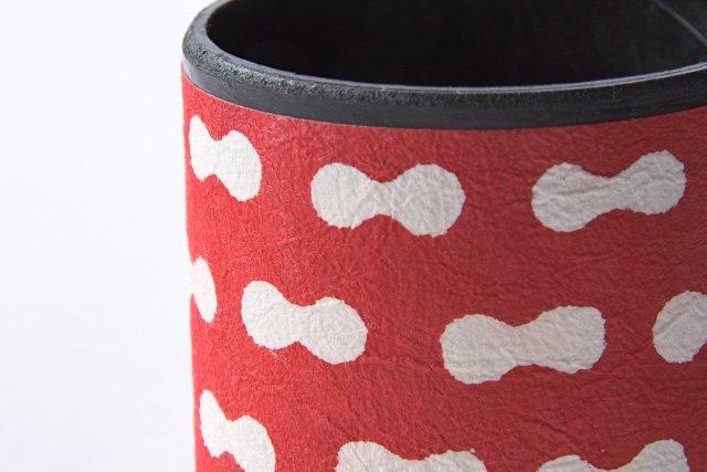 八尾和紙 桂樹舎 ペン立て大 まゆ柄赤