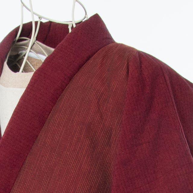 宮田織物 綿入れはんてん 四つ紐ラグランはんてん 渋赤 男女共用