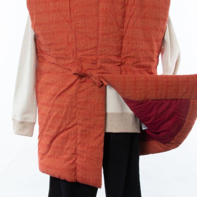 宮田織物 綿入れはんてん 泡雪ロングポンチョ(あわゆき)レンガ 男女共用