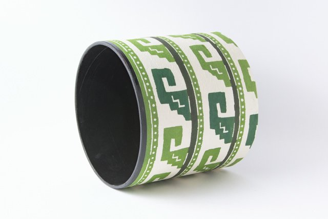 八尾和紙 桂樹舎 小物BOX波模様緑