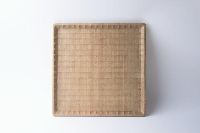 國武秀一 角盆 24cm 正方形 神代楡 木製 トレー 福岡県八女市