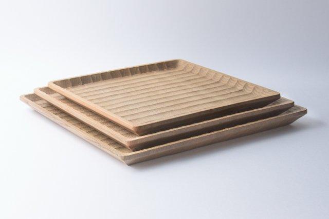 國武秀一 角盆 27cm 正方形 神代楡 木製 トレー 福岡県八女市