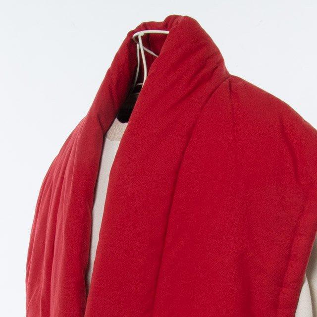 宮田織物 綿入れはんてん 山並みロングポンチョ(やまなみ)赤 男女共用