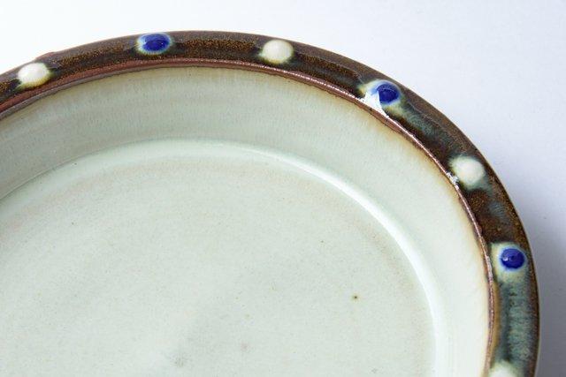 袖師窯 尾野友彦 縁点文六寸皿 約19×4cm