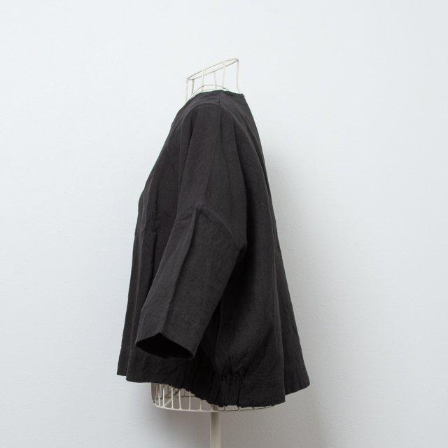 ヤンマ産業 リネン サイドギャザーシャツ 黒 SG-SH-3BK YAMMA