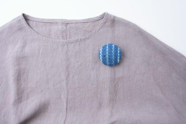 渡辺洋美 藍染ブローチ 丸 大1 約5.5×1.5cm