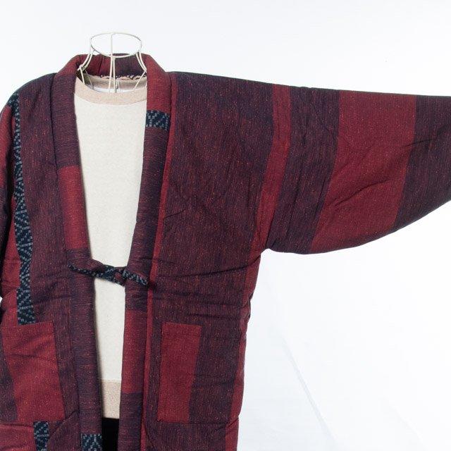 宮田織物 綿入れはんてん 絣調ドビー入り袢天(かすりちょうどーびーいりはんてん)赤 男女共用