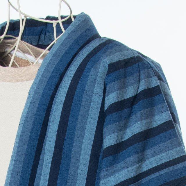宮田織物 綿入れはんてん 藍調大判袢天 カツヲ縞 3L