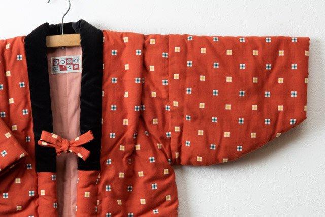 宮田織物 綿入れはんてん 半纏 子供袢天 レンガ色 120cm