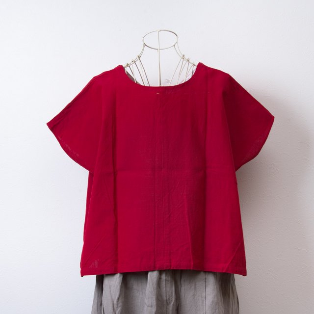 ヤンマ産業 会津木綿の前後で着られるVネックシャツ 赤 AV-SH-KRD