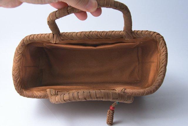山葡萄かごバッグ 手提げ 網代編み 小01 内布、内ポケット付