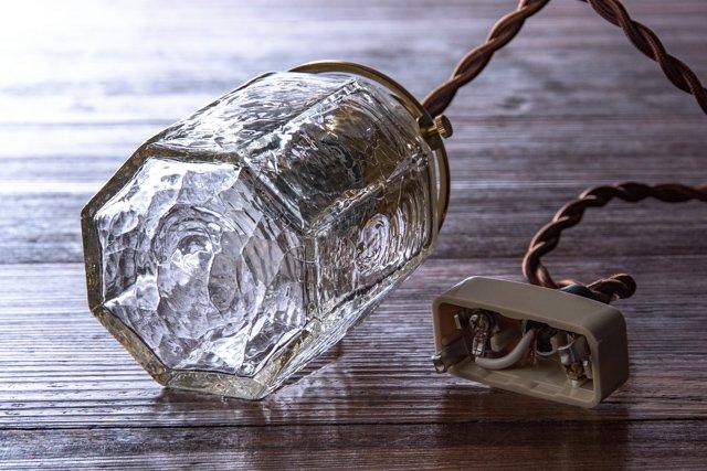 安土草多 吹きガラス ペンダントライト 八角筒瓶 クラック az-l06c