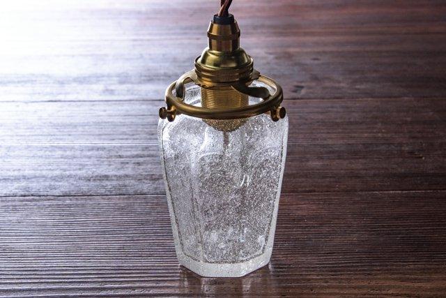 安土草多 吹きガラス ペンダントライト 八角瓶 泡 az-l07a