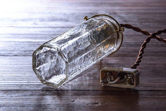 安土草多 吹きガラス ペンダントライト 八角細筒瓶 クラック az-l08c