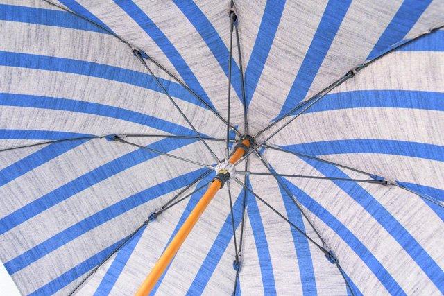 ヤンマ産業の会津木綿生地の日傘 01 ひじり縞