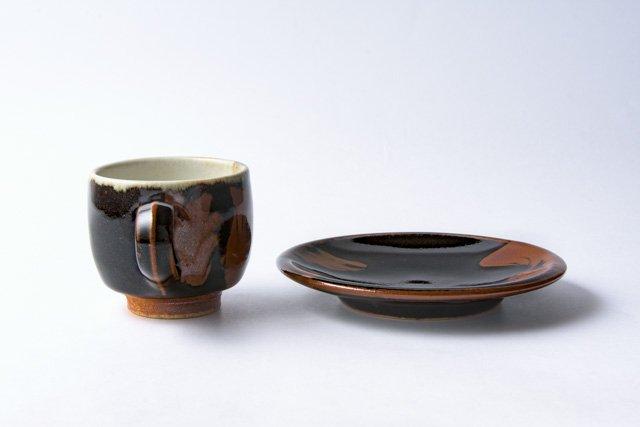 佐久間藤太郎窯 益子 黒釉柿流コーヒーカップ&ソーサー 丸