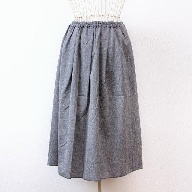 うなぎの寝床 久留米絣のスカート 無地 グレー