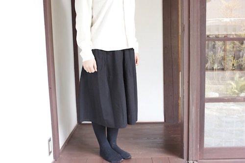 うなぎの寝床 久留米絣のスカート 無地 グリーン