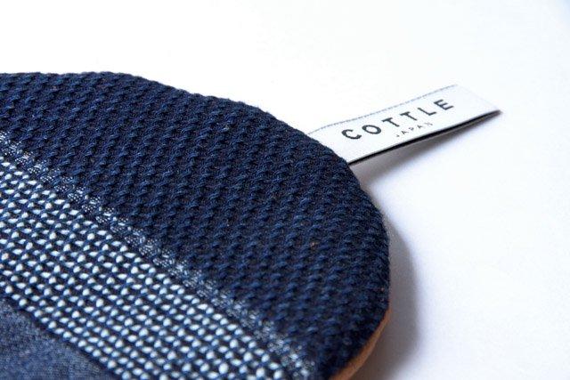COTTLE ポットマット14 なまこ壁刺し子×羊革(ラム) 鍋敷き メール便対応