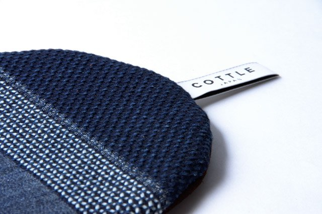 COTTLE ポットマット16 なまこ壁刺し子×羊革 鍋敷き メール便対応