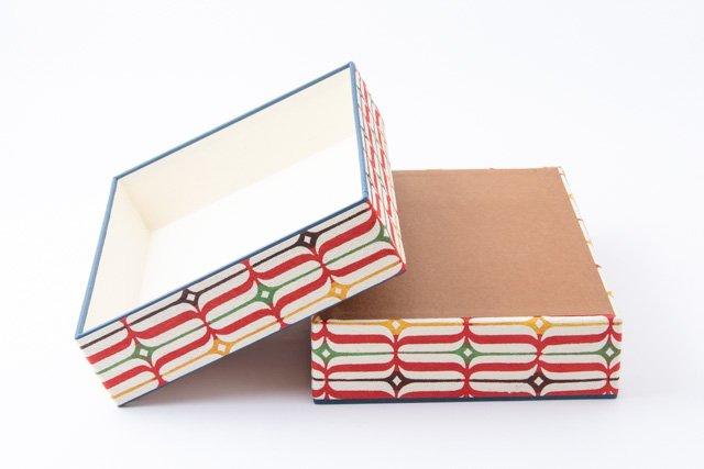 八尾和紙 桂樹舎 文庫箱A4 アイヌ縞 赤