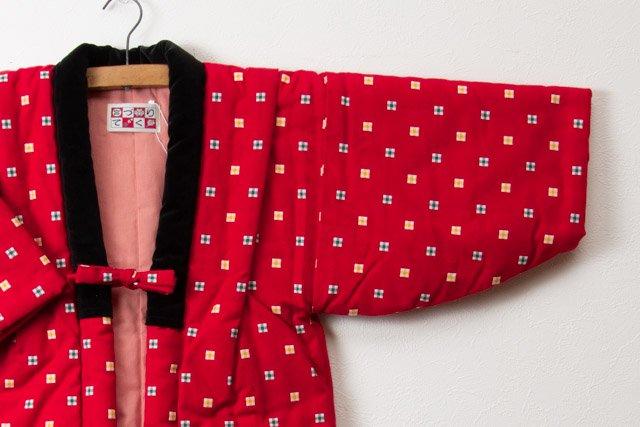 宮田織物 綿入れはんてん 子供袢天(はんてん)赤3 110cm