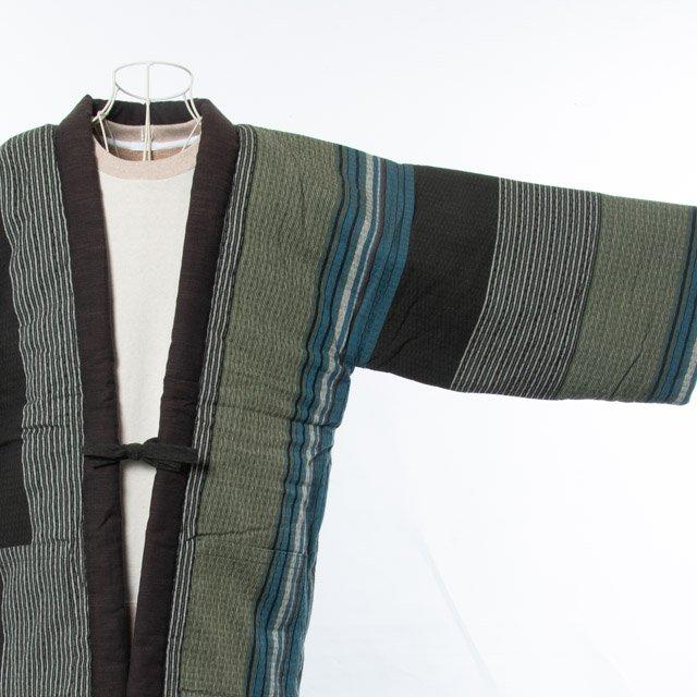 宮田織物 綿入れはんてん 夷草袢天(えびすぐさ)グリーン 男女共用