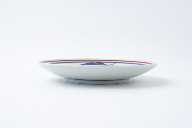梅山窯 砥部焼 六寸丸皿 赤線三つ葉 中皿