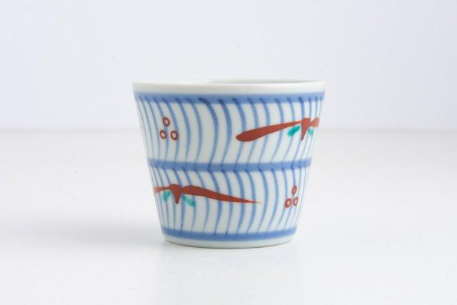 梅山窯 砥部焼 蕎麦猪口 小 二段呉須波赤笹