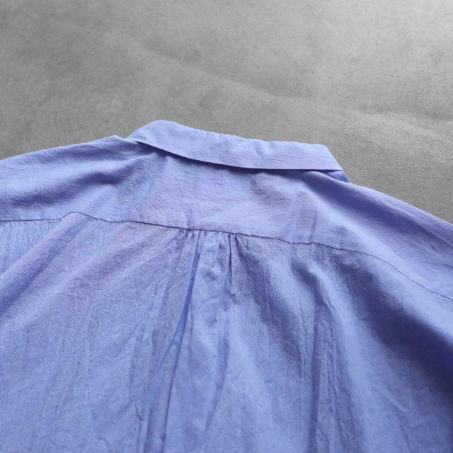 HUIS ハウス なめらかコットンフレンチスリーブワイドブラウス ブルー レディース 遠州織物