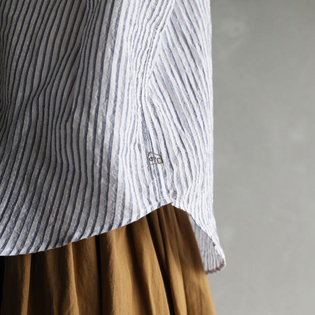 HUIS ハウス 空羽コードレーンフレンチスリーブワイドブラウス ブルーストライプ レディース 遠州織物