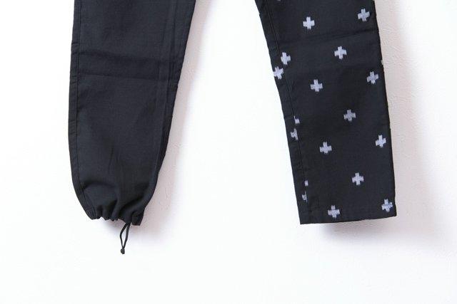 うなぎの寝床 久留米絣もんぺ 十字模様【ブラック】 薄手 送料無料