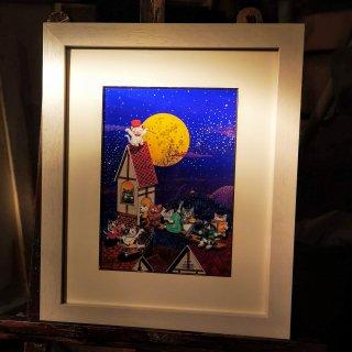 森 魚嵐(もり ぎょらん)原画「Cat House」アクリル画