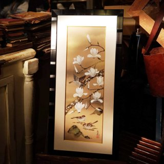 森 魚嵐(もり ぎょらん)原画「白木蓮と雀」日本画