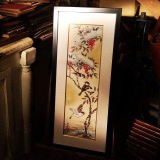 森 魚嵐(もり ぎょらん)原画「南天と雀」日本画