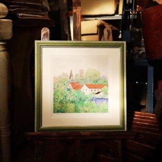安野光雅「オーストリアの村」ジクレー版画