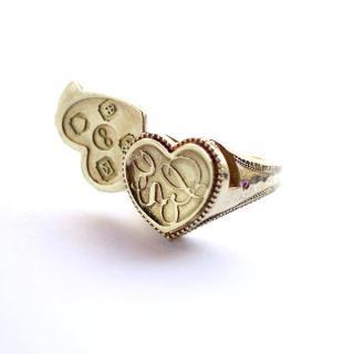《Wax Seal Jewelry》 ロケットリング 真鍮 ハンマー仕上げ ハート〜Love〜