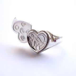 《Wax Seal Jewelry》 ロケットリング シルバー 鏡面仕上げ ハート〜Love〜