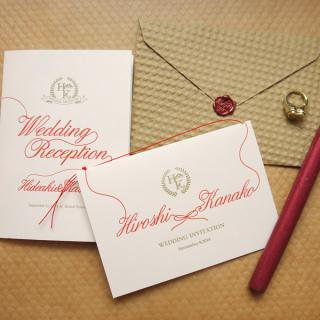 《THE LETTERS》LETTERPRESS INVITATION Red string of fate style 〜Link[結]〜 70名様用