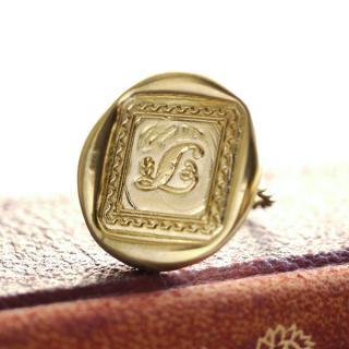 《Wax Seal Jewelry》 ハンドメイドリング 真鍮 〜木の葉 L〜
